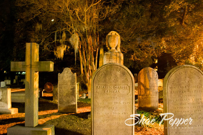 Checking out graveyards in downtown Charleston SC on a ghost walk