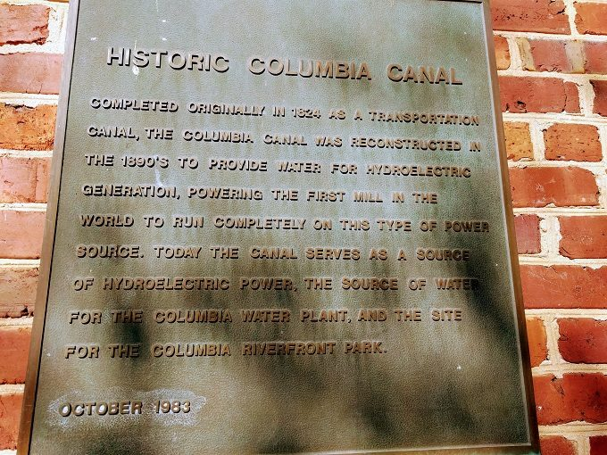 Historic Columbia canal sign