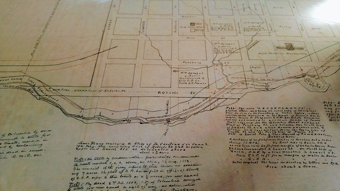 Historic map of Columbia riverfront