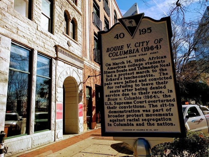 Historic marker in downtown Columbia