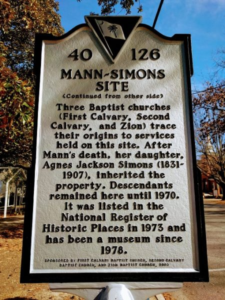 Historic marker outside the Mann-Simons Site - back