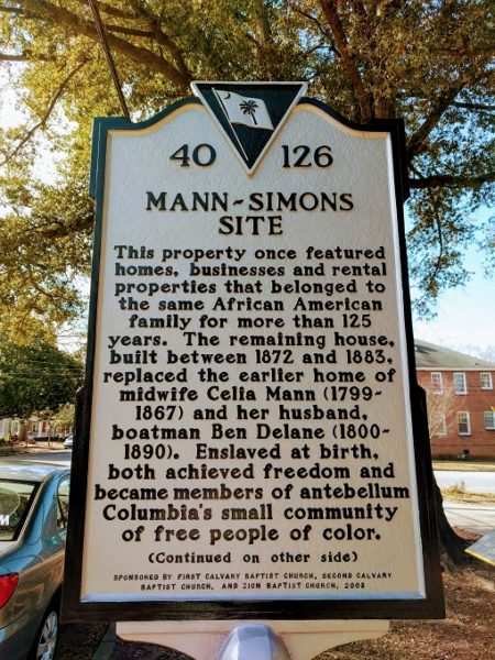 Historic marker outside the Mann-Simons Site - front