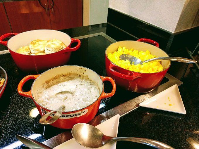 Hyatt Place Columbia-Harbison breakfast - eggs, sausage gravy and biscuits