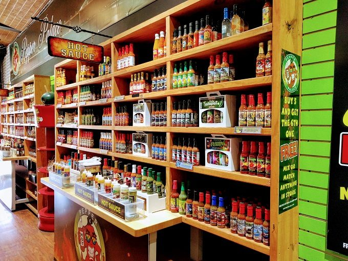 Just some of the Pepper Palace's hot sauces