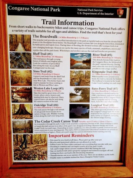List of Congaree National Park hiking trails