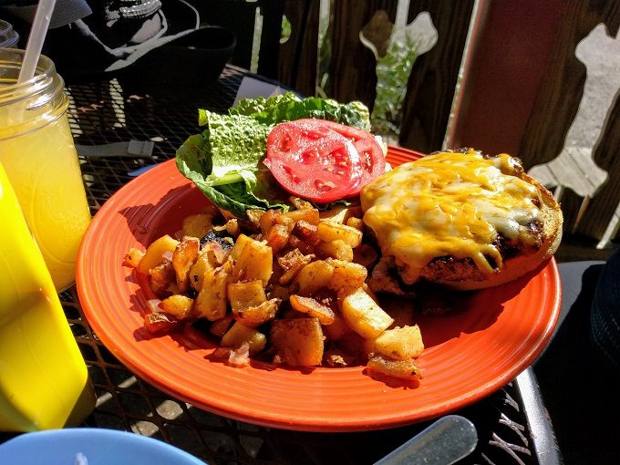 Lost Dog Cafe - Bacon cheddar jack burger minus the bacon and home fries