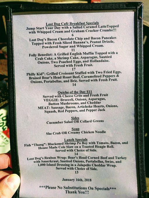 Lost Dog Cafe menu - Specials
