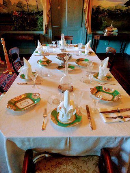 Original Hampton-family china and napkins