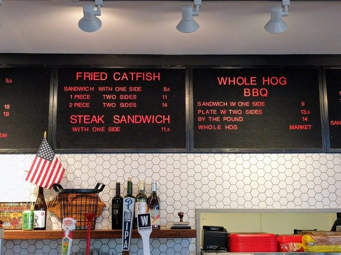 Rodney Scott's BBQ menu Fried catfish, steak sandwich & whole hog BBQ