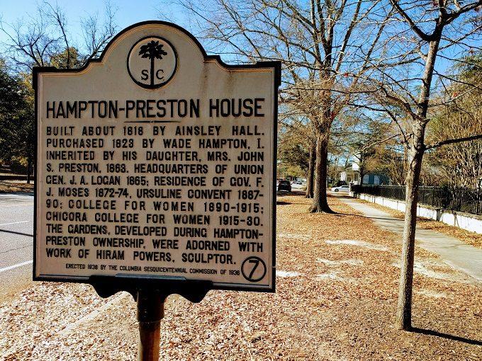 Sign outside the Hampton-Preston House