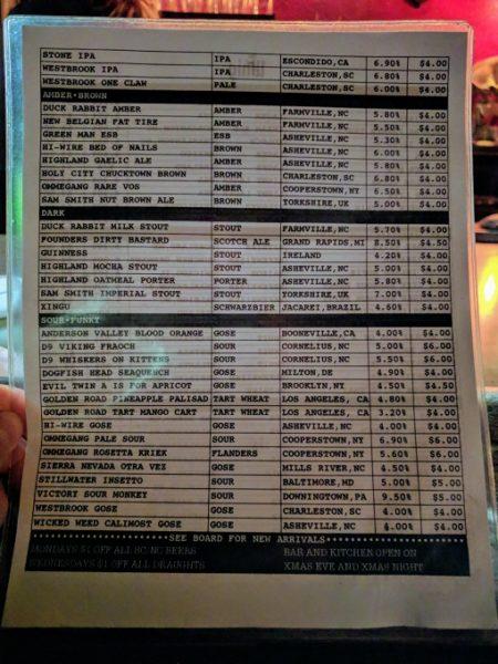 The Whig's beer menu
