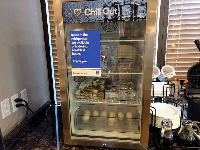 Comfort Inn Greenville SC breakfast - Yogurts, cream cheese and hard boiled eggs