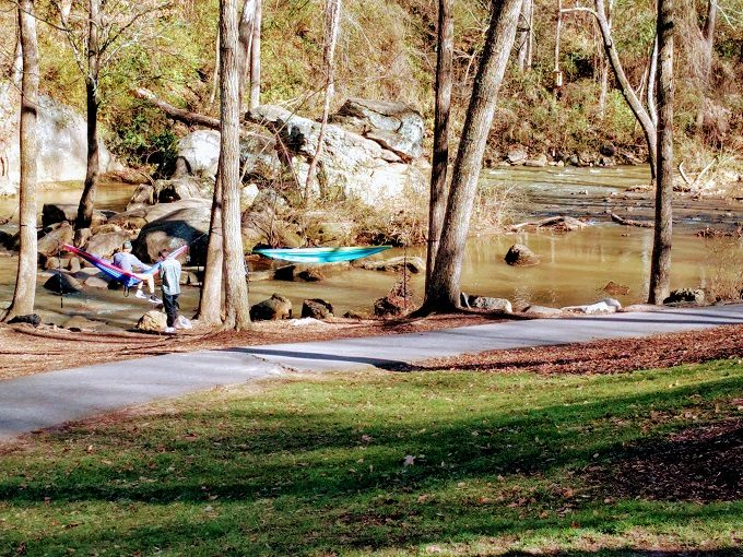 Hanging out (quite literally) at Falls Park On The Reedy