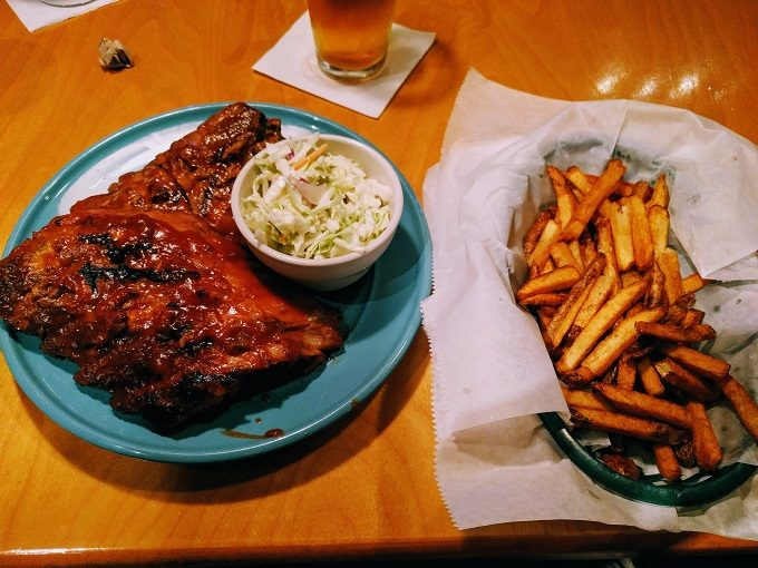 Socastee Station daily special - full rack of ribs, fries and coleslaw