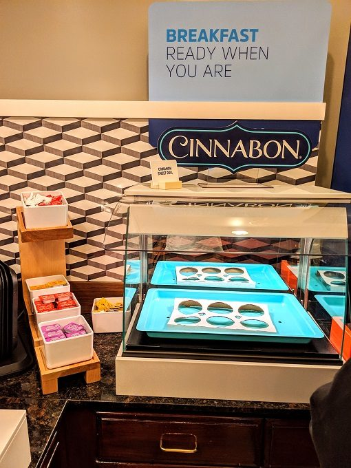 Holiday Inn Express Canyon breakfast - Cinnabon cinnamon rolls & preserves